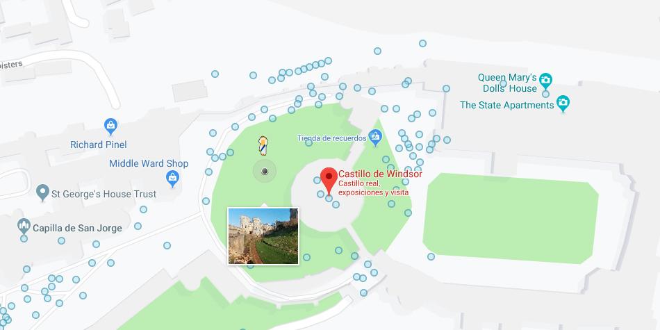 Si buscas el castillo de Windsor, verás que pegman de Google Maps se transforma en la reina Isabel II. (Foto: Google)