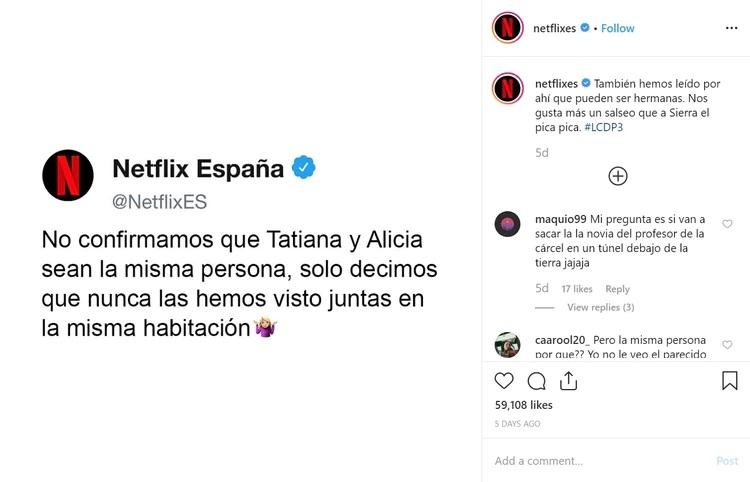 Con este publicación, Netflix dejó más confundidos a los fanáticos que tiene innumerables hipótesis sobre la relación entre Tatiana y la inspectora Alicia Sierra (Foto: Instagram Netflix/La Casa de Papel)