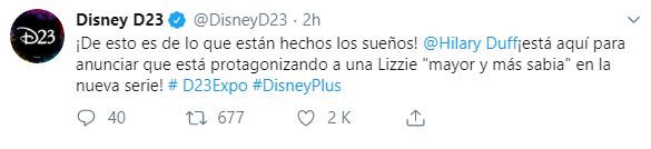 """Lizzie Mcguire"" tendrá secuela protagonizada por Hilary Duff. (Fuente: Twitter)"