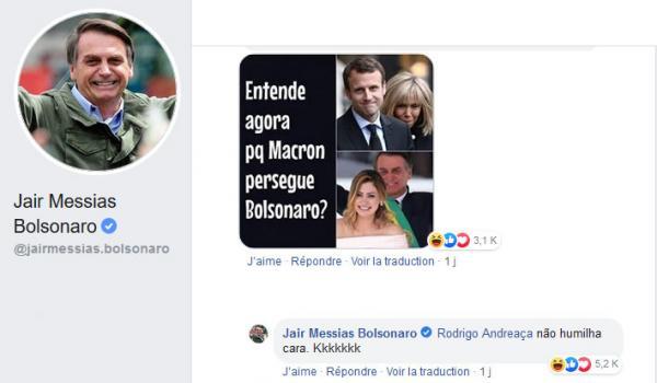 La publicación en Facebook que generó la tensión entre Jair Bolsonaro y Macron. (Foto: Captura)