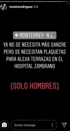 Mensajes del entorno más cercano de Terrazas López. (Foto: Instagram)
