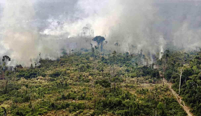 Vista de una zona quemada en la selva amazónica, cerca de Porto Velho, estado de Rondonia, luego que Brasil desplegara dos aviones C-130 Hércules para sofocar los fuegos. (Foto: AFP)