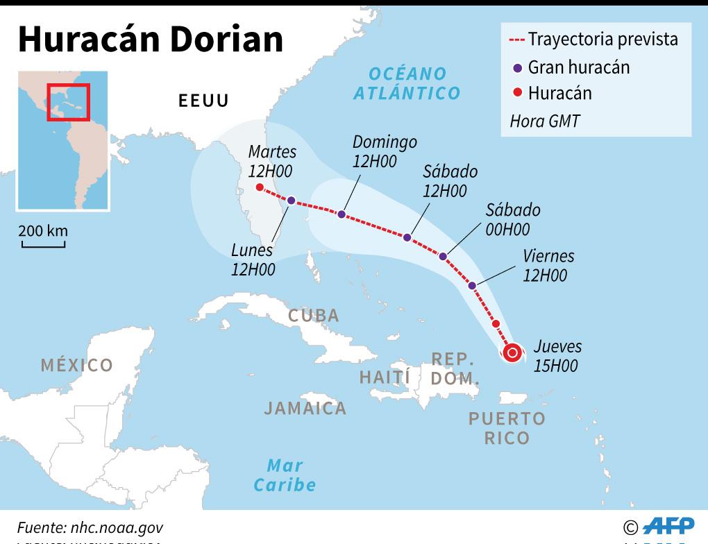 Posible trayectoria del huracán Dorian. (Infografía: AFP)