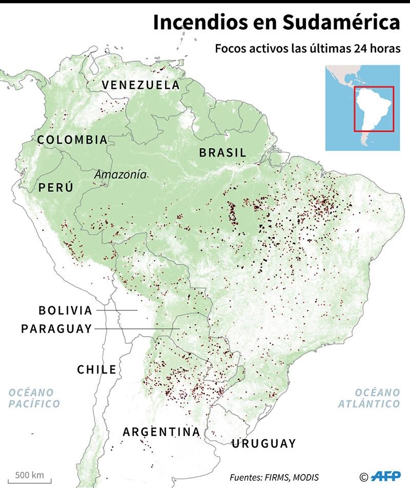 Incendios activos en la Amazonía. (Infografía: AFP)