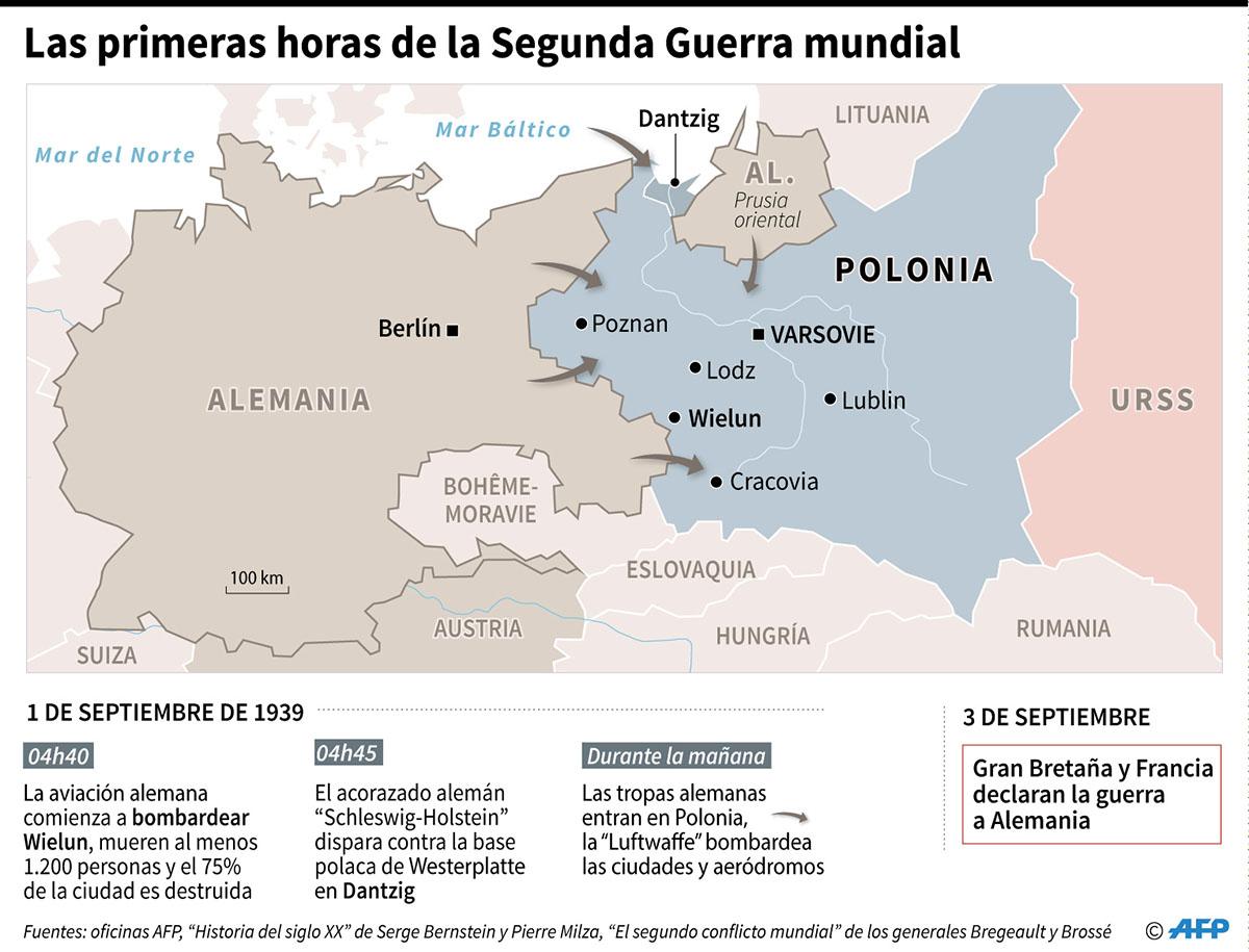 Mapa y línea de tiempo de las primeras horas de la invasión alemana de Polonia en 1939. (Infografía: AFP)