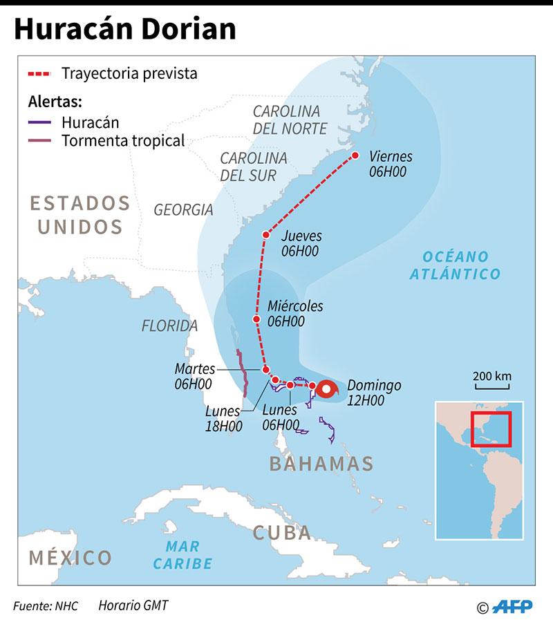Mapa con la trayectoria del huracán Dorian. (Infografía: AFP)