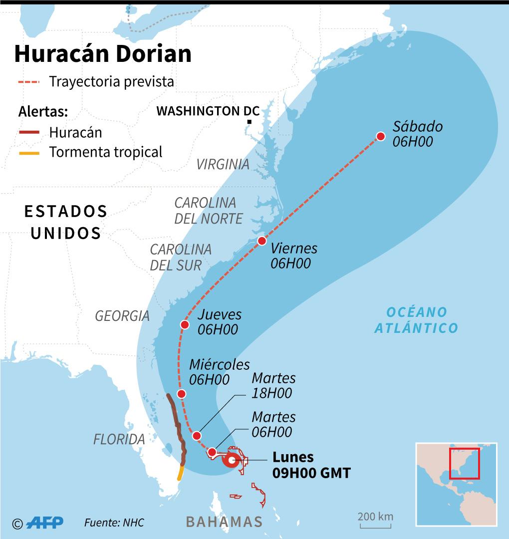Mapa con la trayectoria probable del huracán Dorian. (Infografía: AFP)