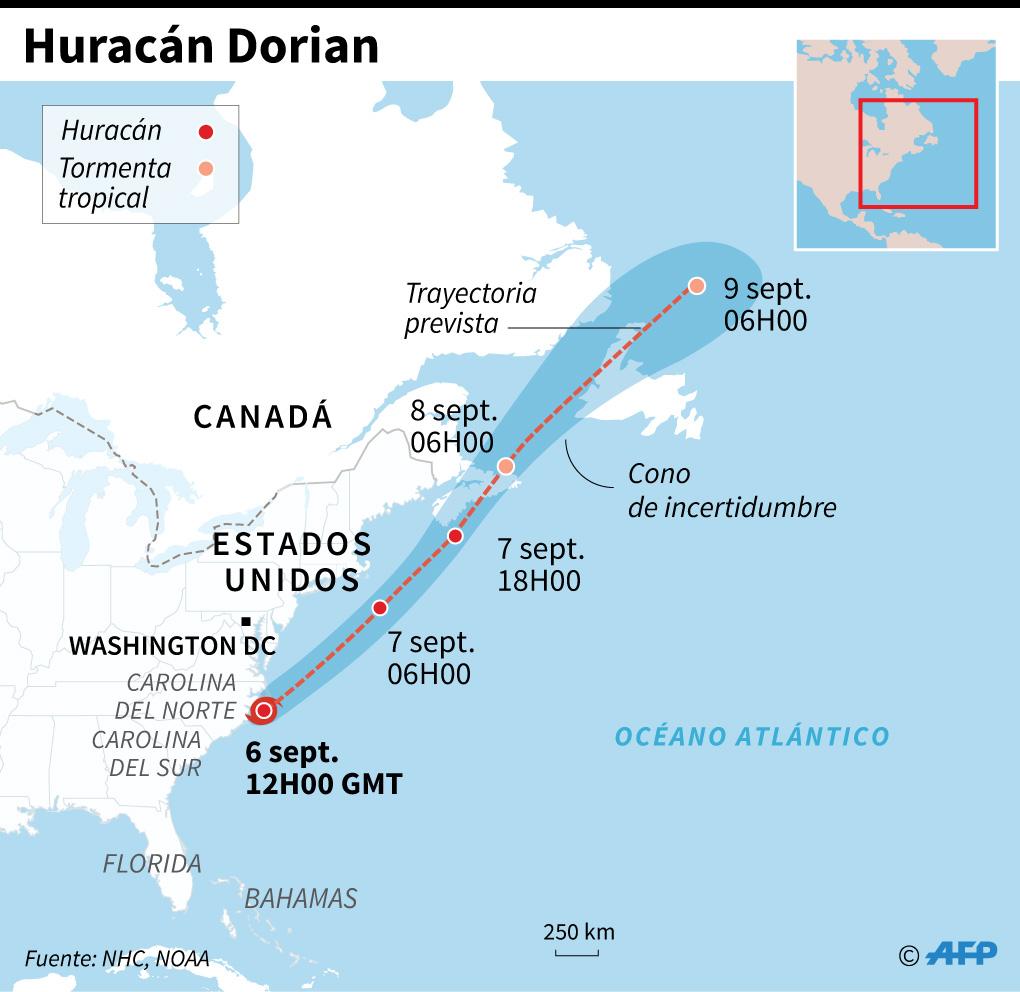 Trayectoria prevista del huracán Dorian. (Infografía: AFP)