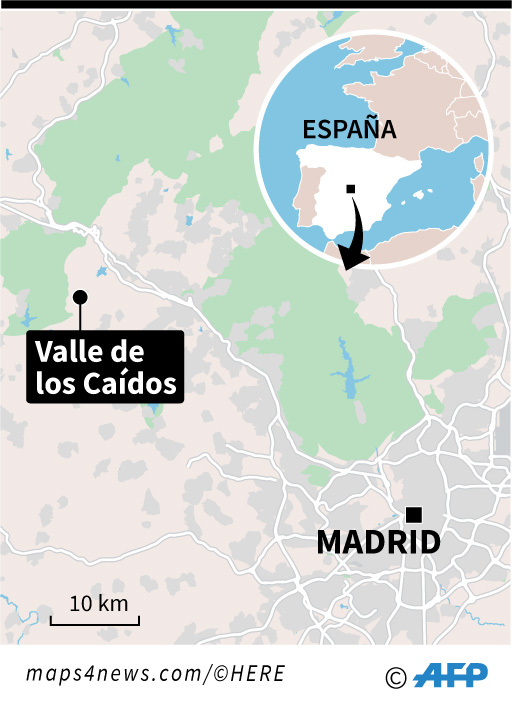 Mapa localizando el Valle de los Caídos, al noroeste de Madrid, donde están enterrados los restos mortales del dictador Franco. (Infografía: AFP)