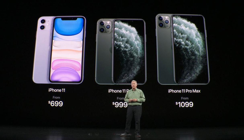 Los precios del iPhone 11, al final de su presentación en el auditorio Steve Jobs. (Foto: Captura)