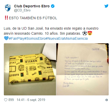 La carta de un niño de 10 años que lesionó a un rival en un partido de fútbol.