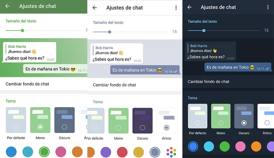 En Telegram, a diferencia de WhatsApp, puedes cambiar a cualquier color la aplicación. (Foto: Captura)