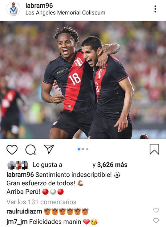 El mensaje de Luis Abram en Instagram.