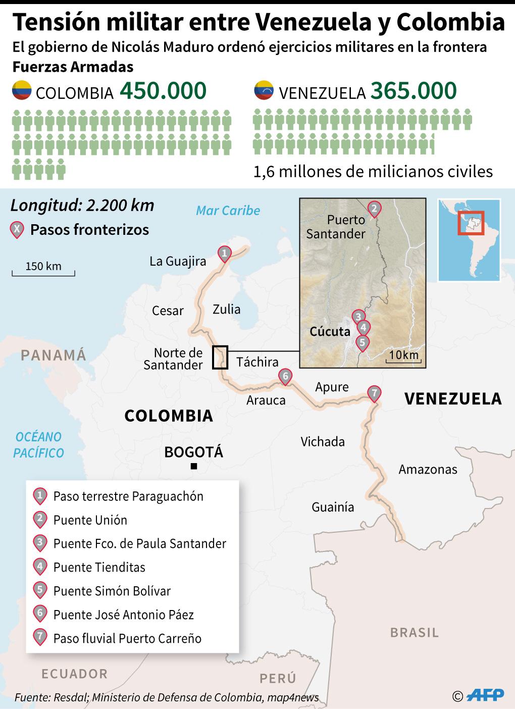 Localización de la frontera entre Venezuela y Colombia, luego que el régimen de Nicolás Maduro ordenara el despliegue de militares. (Infografía: AFP)