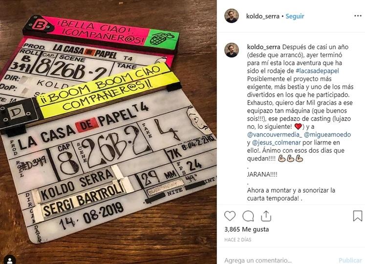 El director publicó una fotografía donde da por finalizado la grabación de la cuarta temporada (Foto: Instagram)