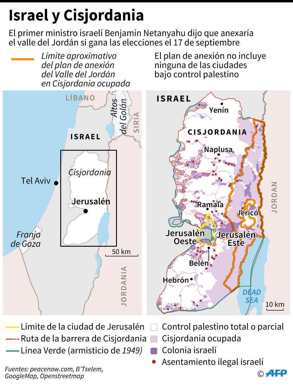 Mapa de Israel y de Cisjordania. (Infografía: AFP)