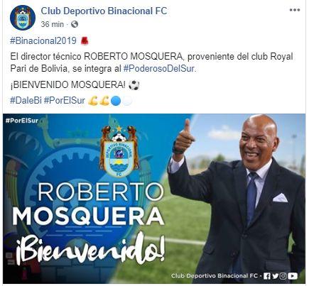 Roberto Mosquera es el flamante entrenador de Binacional.