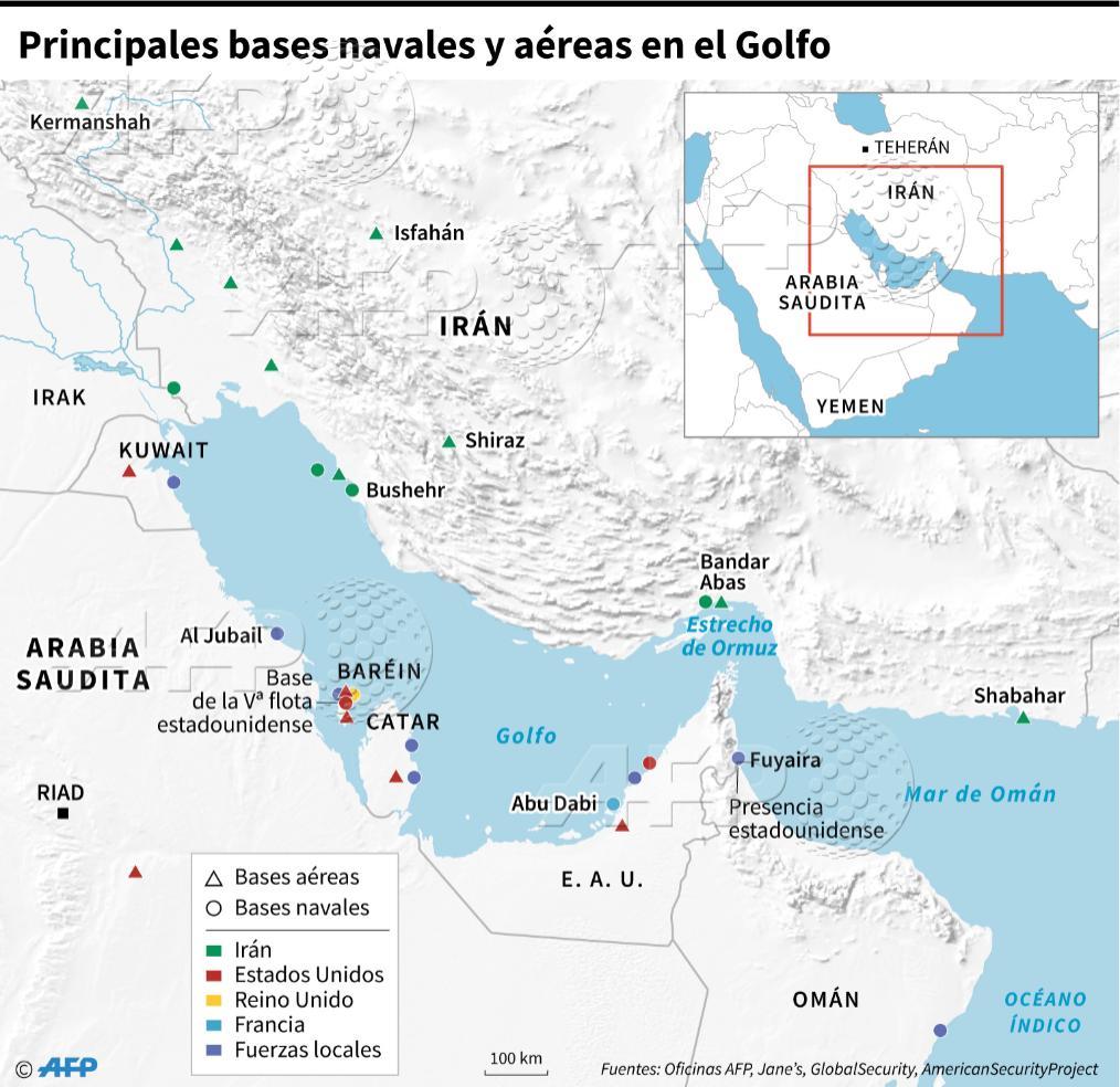 Mapa con las principales bases aéreas y navales en la zona del golfo Pérsico. (Infografía: AFP)