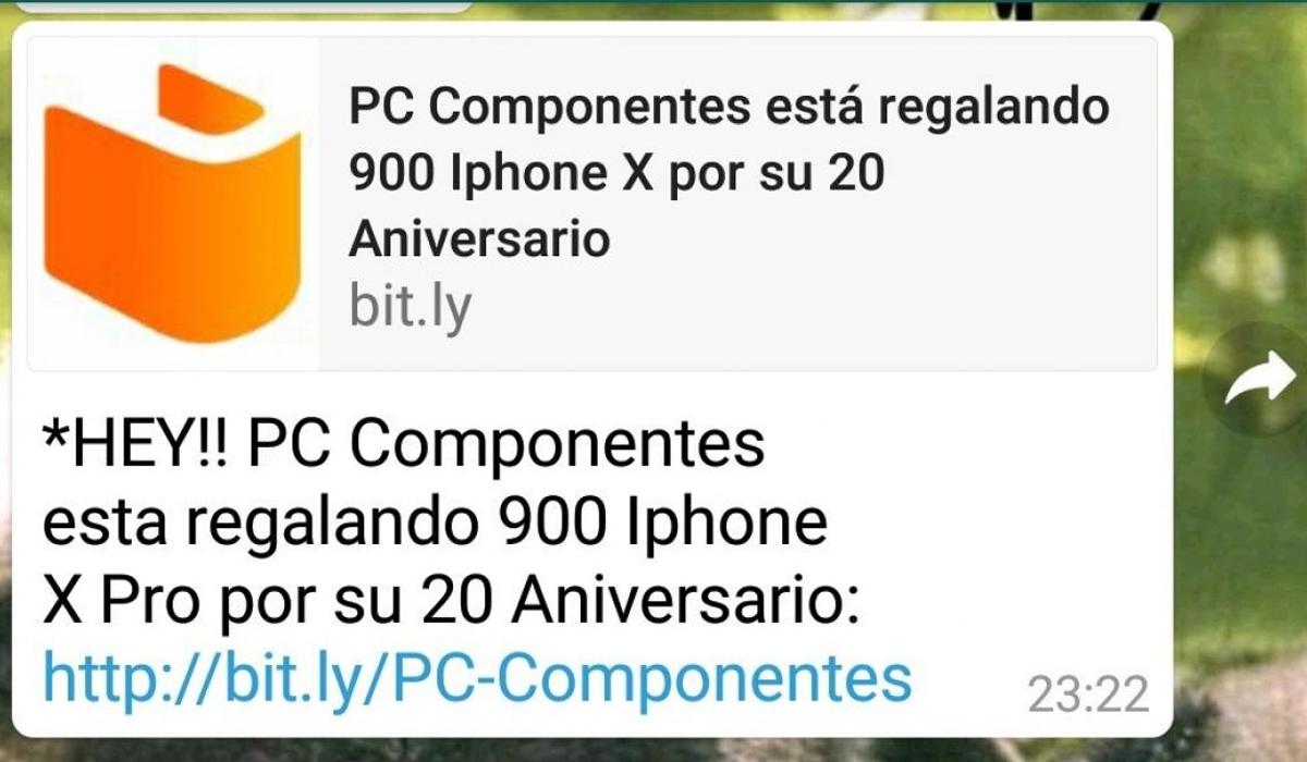 Este es el supuesto mensaje en donde se indica que puedes participar de los 900 iPhone 11 que están regalando en WhatsApp.