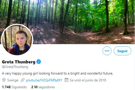 Perfil en Twitter de Greta Thunberg. (Foto: Captura)