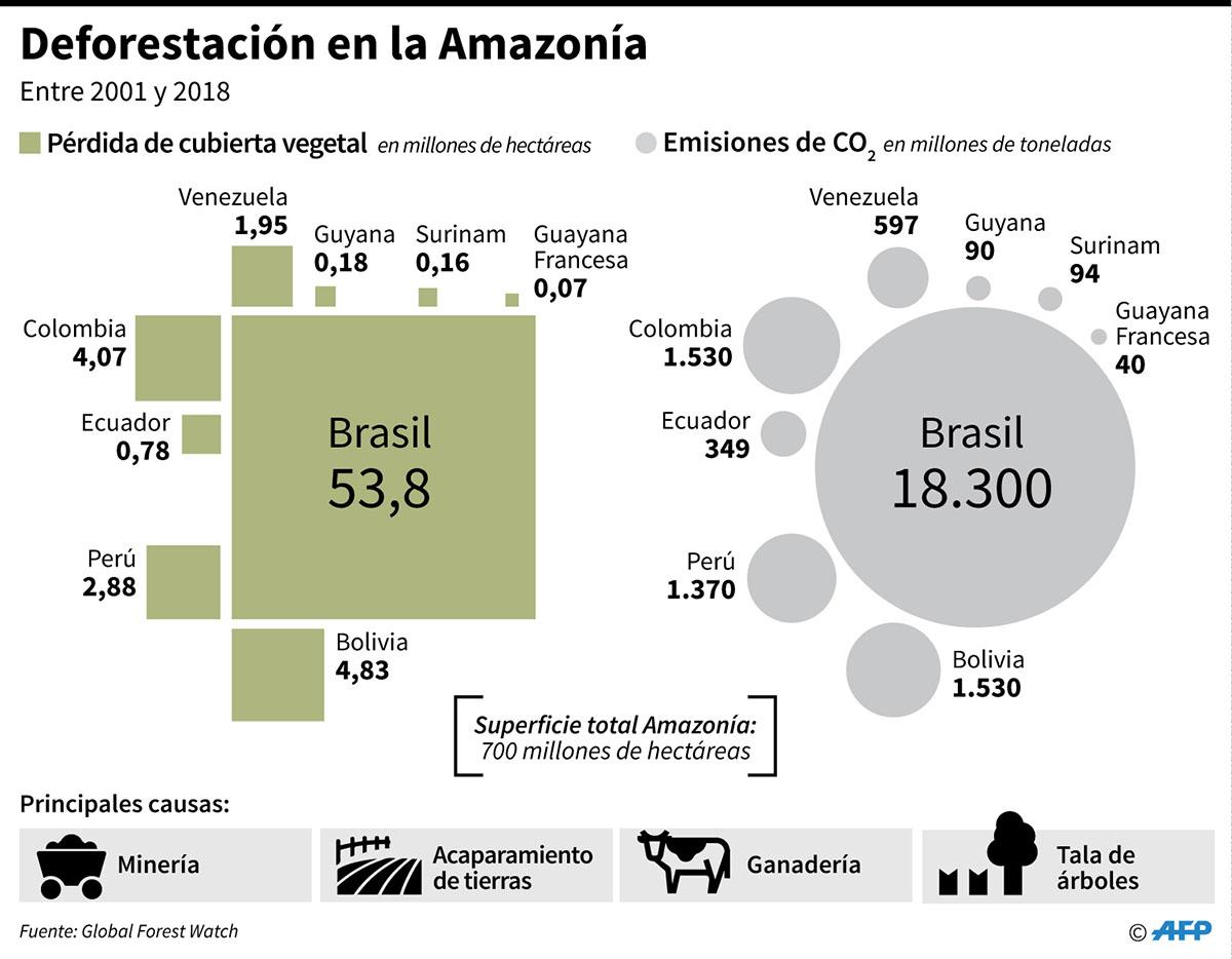 Pérdida de cubierta vegetal y emisiones de CO2 en los países que comparten el territorio de la Amazonía, entre 2001 y 2018. (Infografía: AFP)