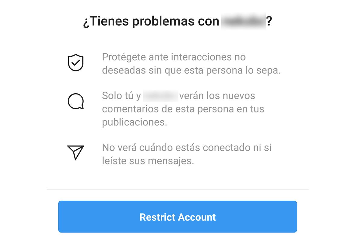 Instagram te da una advertencia en caso hayas pulsado el botón de 'Restringir'. (Foto: Captura)