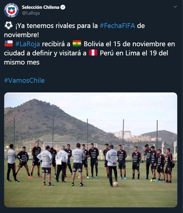 Chile confirma amistoso contra la selección peruana en noviembre. (Foto: @LaRoja)