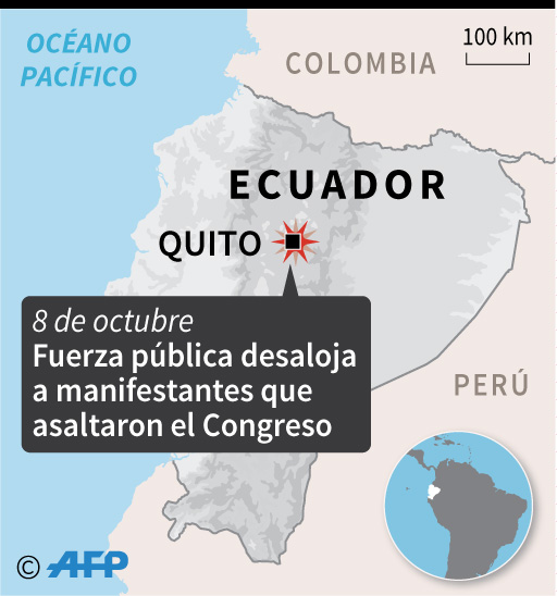 Mapa de Ecuador localizando la ciudad de Quito, donde la fuerza pública desalojó a manifestantes que asaltaron el Congreso. (AFP)