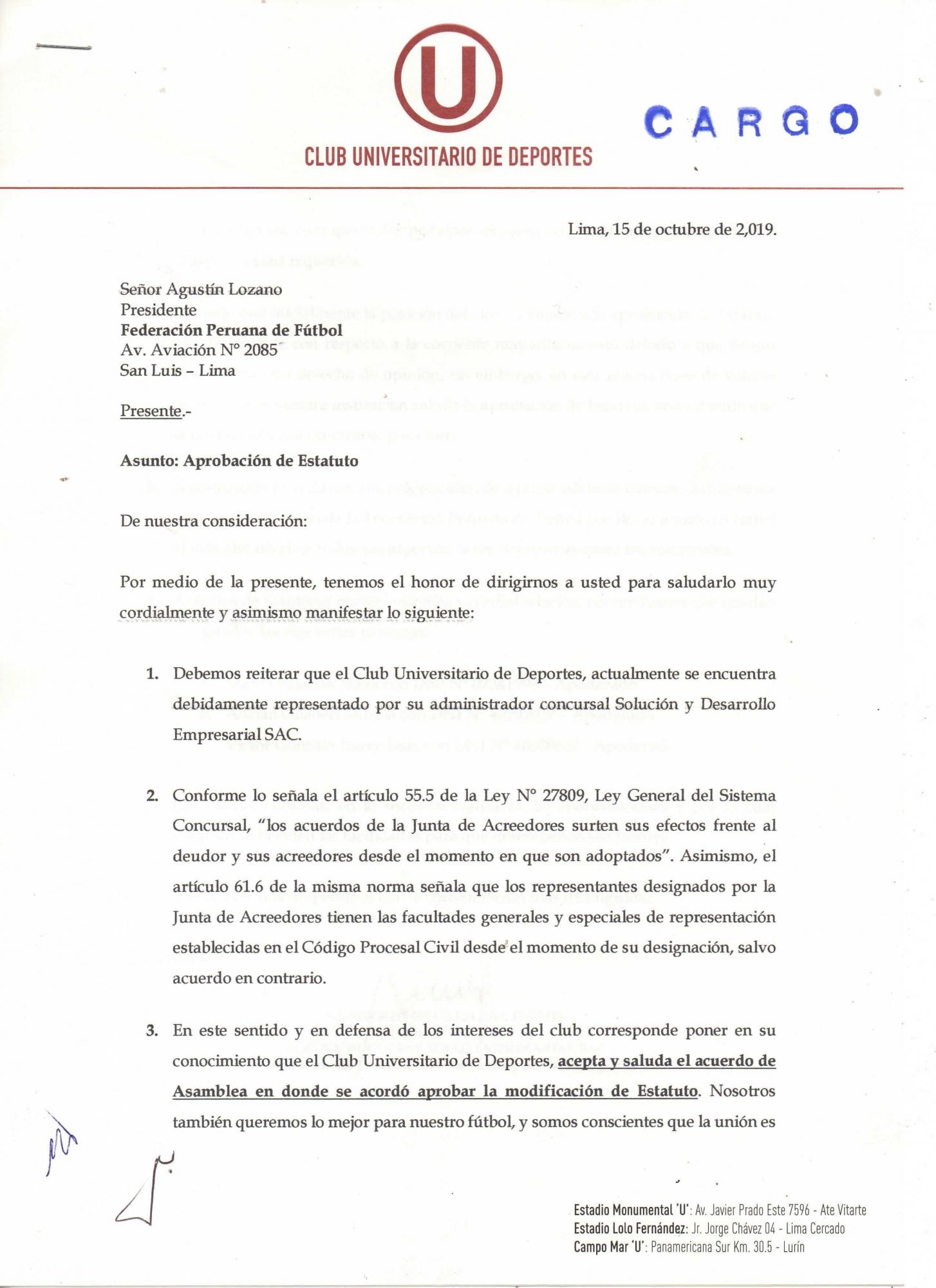 Comunicado de Universitario de Deportes.