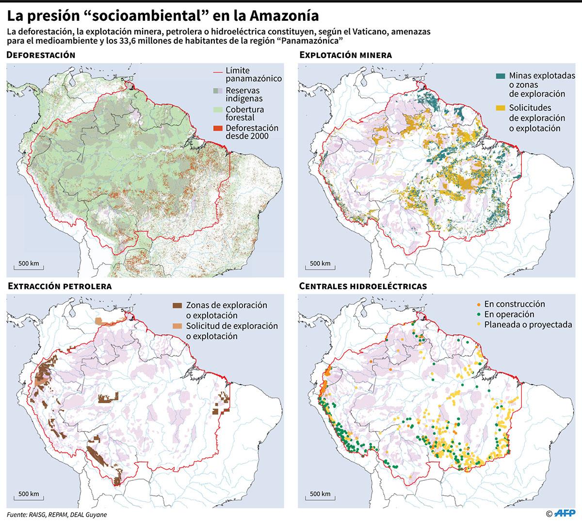 La deforestación, la explotación minera, petrolera o hidroeléctrica constituyen, según el Vaticano, amenazas para el medioambiente y los 33,6 millones de habitantes de la región