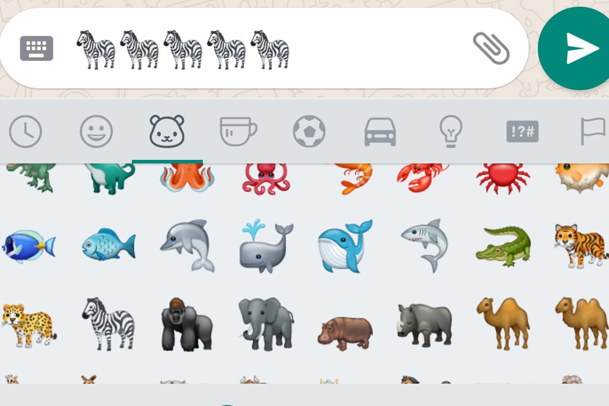 El emoji de la cebra se encuentra en el apartado de animales de WhatsApp.
