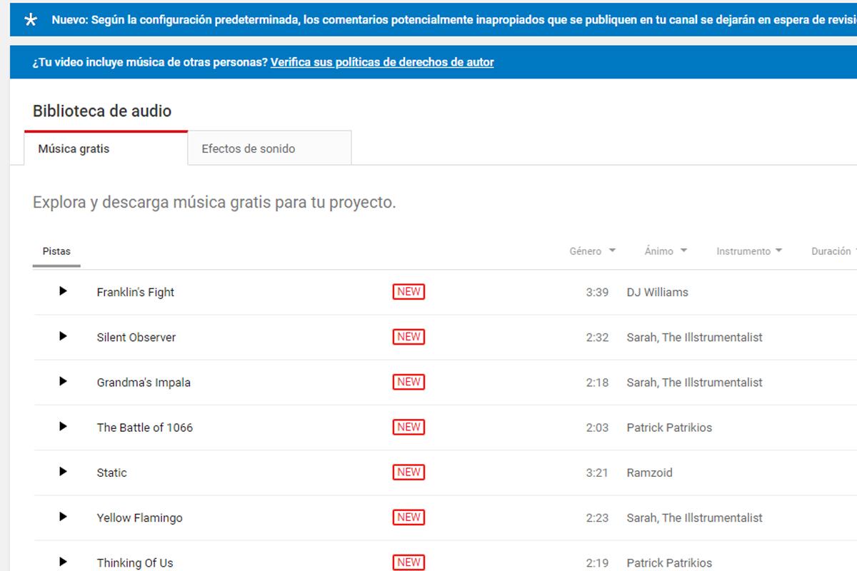En la página de YouTube también puedes adquirir música sin copyright. (Foto: Captura)