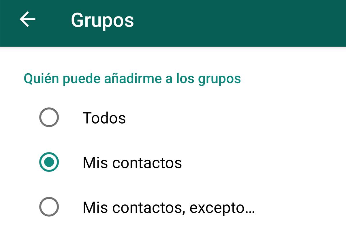 Allí puedes elegir quién deseas que te añada a un grupo de WhatsApp. (Foto: Captura)