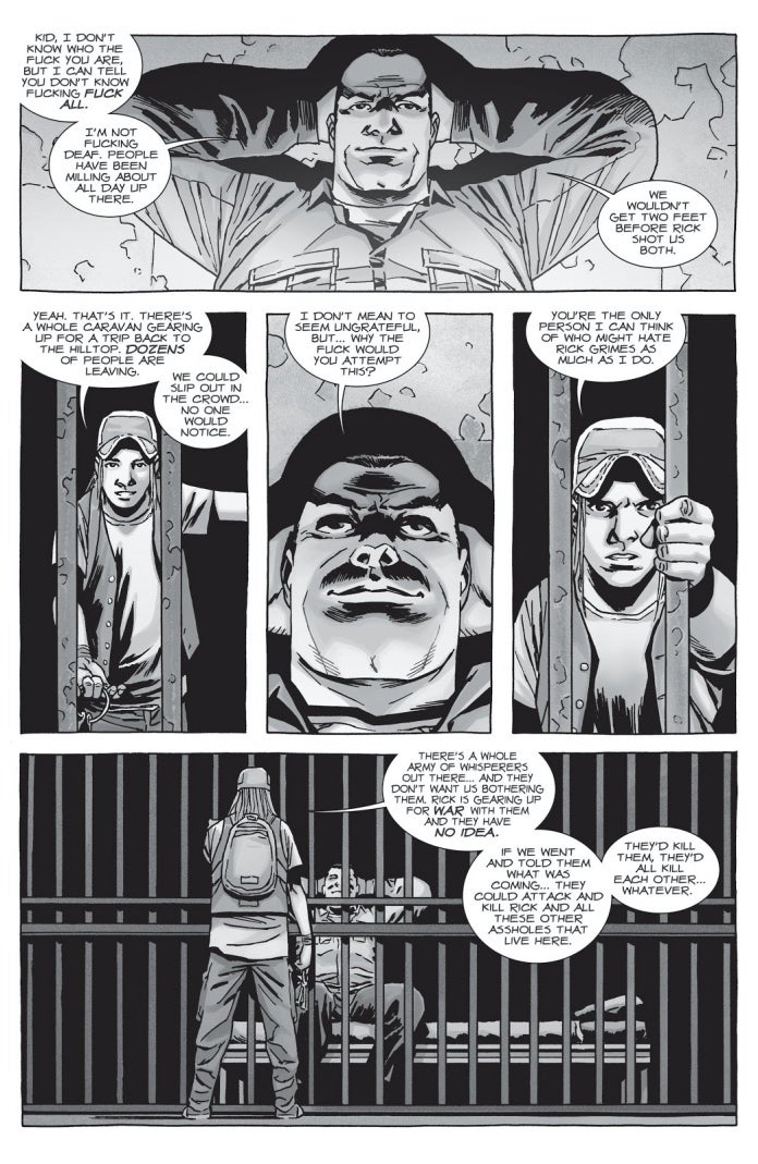 Negan escapó con la ayuda de Brandon, pero al final lo traicionó (Foto: Image Comics)