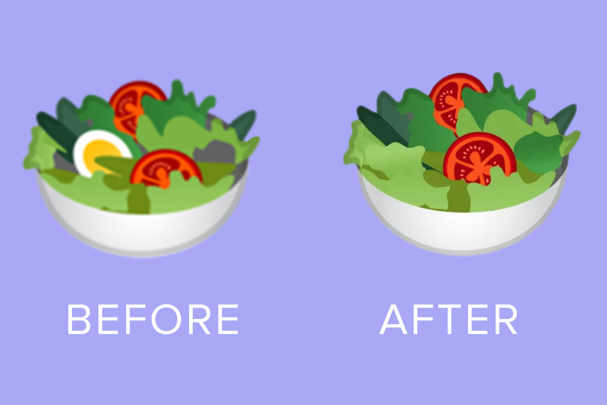 El emoji de la ensadala antes tenía un huevo. Ahora no cuenta con dicho ingrediente. (Foto: WhatsApp)