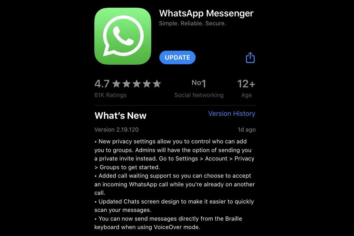 Estas son todas las novedades que trae WhatsApp en el iPhone. (Foto: WhatsApp)