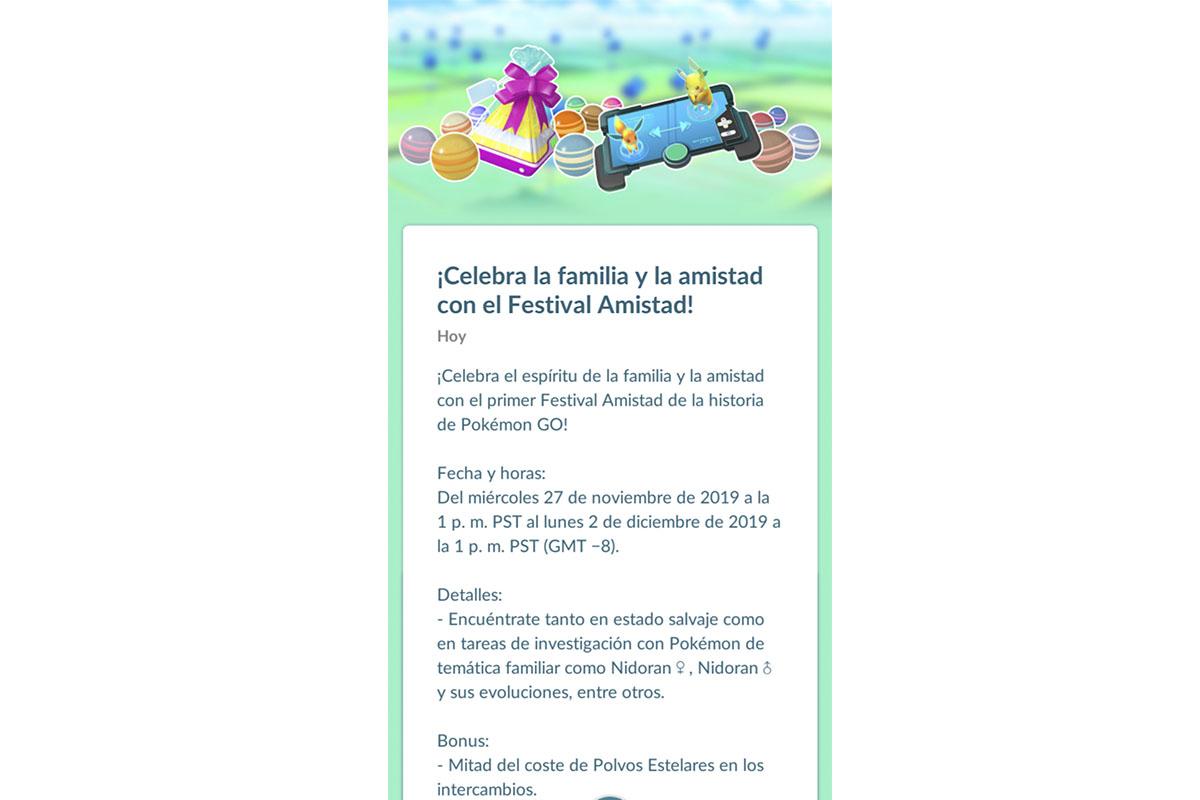 Este es el mensaje por el Festival de la Amistad en Pokémon GO. (Foto: Niantic)