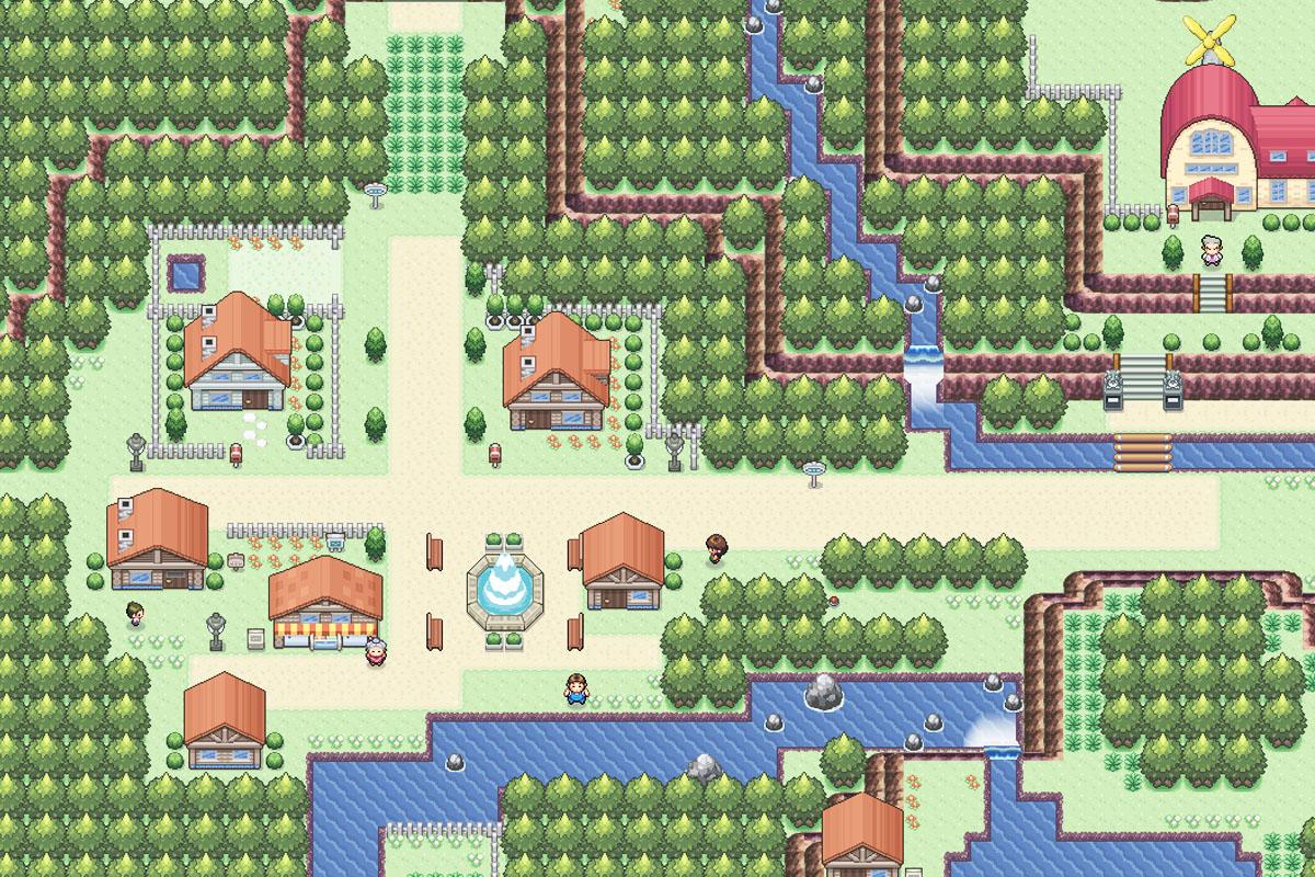 Este es el plano del Pueblo Paleta que se muestra en los videojuegos de Pokémon. (Foto: Nintendo)