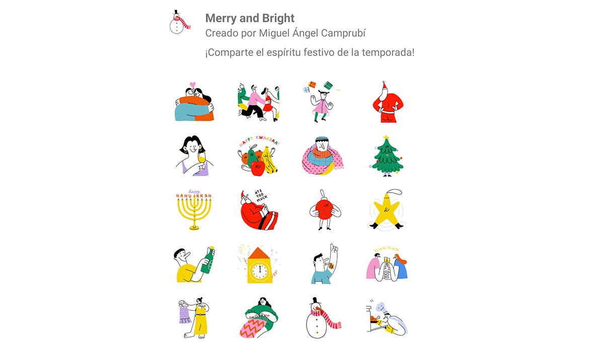 Así es el pack de stickers de WhatsApp por Navidad: Merry and Bright. (Foto: WhatsApp)
