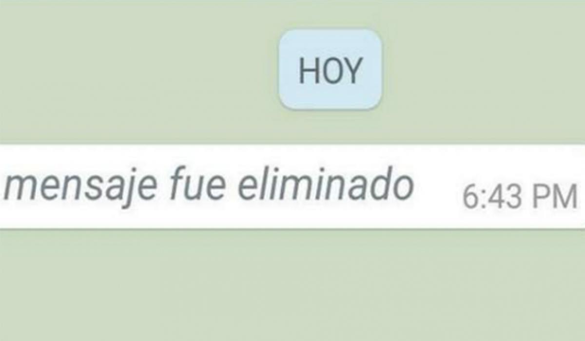 Cuando se elimina un mensaje, este es el texto que aparece en tus conversaciones. (Foto: WhatsApp)