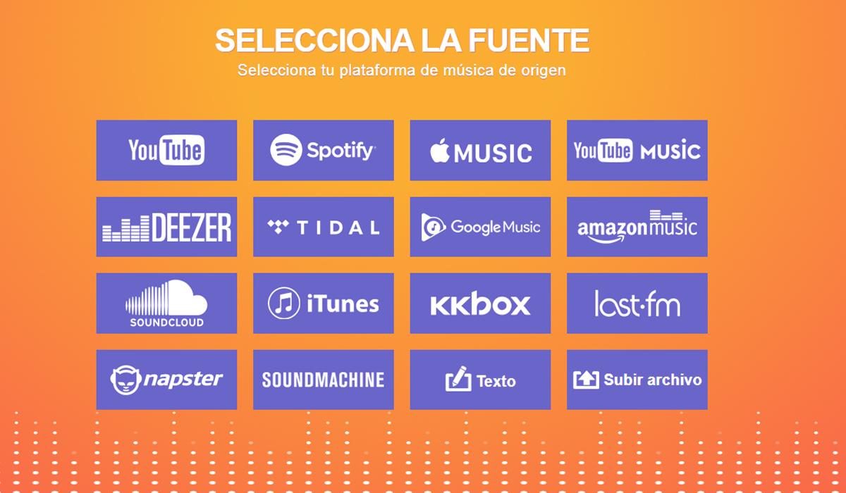 tunemymusic.com te ofrece diversas plataformas para que puedas mover tus playlist a donde desees. (Foto: Captura)